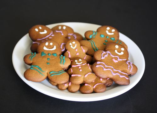 photo of decorated gingerbread cookies on a plate